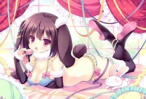 Rating: Questionable Score: 38 Tags: animal_ears bra breast_hold bunny_ears cleavage heels pantsu roritora tagme tail thighhighs tsukishima_yuuko User: Radioactive