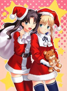 Rating: Safe Score: 19 Tags: christmas fate/stay_night higurashi_ryuuji saber thighhighs toosaka_rin type-moon User: omegakung