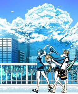 Rating: Safe Score: 13 Tags: hatsune_miku kagamine_len kagamine_rin kawazu vocaloid User: yumichi-sama