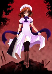 Rating: Safe Score: 17 Tags: higurashi_no_naku_koro_ni ryuuguu_rena sixnine thighhighs weapon User: animeprincess