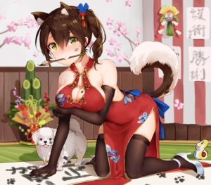 Rating: Safe Score: 85 Tags: animal_ears breast_hold chinadress cleavage heels kaga_(kancolle) kantai_collection tail yamano_(yamanoh) User: Mr_GT