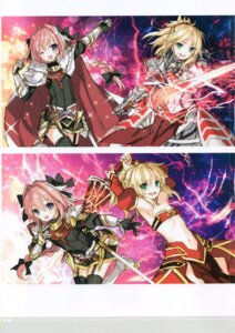 Rating: Safe Score: 8 Tags: armor astolfo_(fate) dress fate/apocrypha fate/stay_night mordred_(fate) stockings sword thighhighs toosaka_asagi trap User: kiyoe