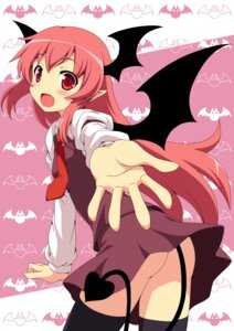 Rating: Questionable Score: 48 Tags: koakuma nopan tail thighhighs touhou wings yamasan User: fireattack