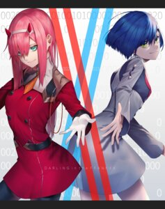 Rating: Safe Score: 16 Tags: darling_in_the_franxx horns ichigo_(darling_in_the_franxx) pantyhose simanerikotton uniform zero_two_(darling_in_the_franxx) User: Dreista