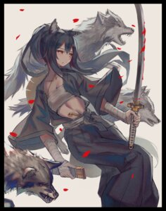 Rating: Safe Score: 20 Tags: animal_ears arknights bandages blood cleavage japanese_clothes open_shirt sarashi sword tail texas_(arknights) veilrain User: Mr_GT