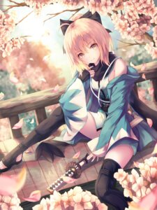 Rating: Safe Score: 39 Tags: fate/grand_order h2o_(dfo) japanese_clothes sakura_saber sword thighhighs User: RyuZU