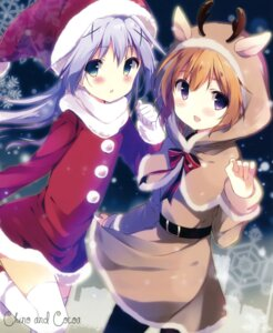Rating: Safe Score: 66 Tags: christmas dress gochuumon_wa_usagi_desu_ka? hoto_cocoa kafuu_chino pantyhose shiratama shiratamaco thighhighs User: Twinsenzw