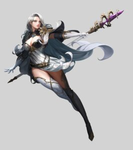 Rating: Safe Score: 40 Tags: ake_(cherrylich) armor cleavage dress thighhighs weapon User: mash