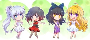 Rating: Safe Score: 14 Tags: blake_belladonna chibi cleavage dress heels iesupa pantyhose ruby_rose rwby weiss_schnee yang_xiao_long User: saemonnokami