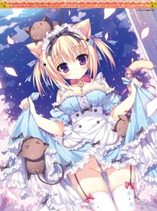 Rating: Questionable Score: 167 Tags: animal_ears cleavage digital_version dress neko nekomimi nopan shiromochi_sakura skirt_lift stockings tail thighhighs User: Twinsenzw