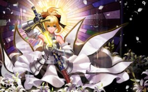 Rating: Safe Score: 51 Tags: armor dress fate/stay_night fate/unlimited_codes liang_xing saber saber_lily sword watermark User: mash