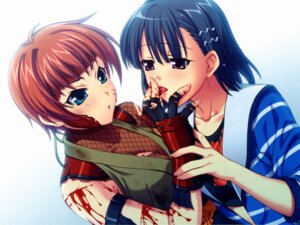 Rating: Questionable Score: 9 Tags: aoi_shiro blood hal kyan_migiwa osanai_shouko success User: Radioactive