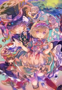 Rating: Safe Score: 9 Tags: alice_in_wonderland alice_margatroid animal_ears bunny_ears cha_goma chibi dress hakurei_reimu heels izayoi_sakuya kirisame_marisa maid patchouli_knowledge tail touhou User: charunetra