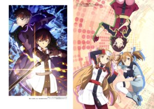 Rating: Safe Score: 17 Tags: asuna_(sword_art_online) bodysuit eiji_(sword_art_online) heels kirito komatsubara_sei lisbeth nagae_akihiro pantyhose silica sword sword_art_online thighhighs uniform User: drop