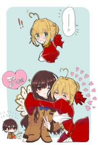 Rating: Safe Score: 13 Tags: chibi dress fate/extra fate/stay_night female_protagonist_(fate/extra) male_protagonist_(fate/extra) ojisan saber_extra seifuku yuri User: kiyoe