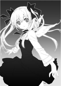 Rating: Safe Score: 30 Tags: angel dmyo dogs dress monochrome nill wings User: fireattack