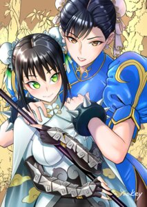 Rating: Safe Score: 12 Tags: armor bodysuit chinadress chun_li crossover fate/grand_order pantyhose qin_liangyu_(fate/grand_order) street_fighter tagme weapon User: charunetra