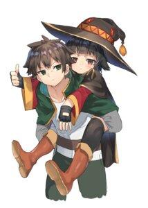 Rating: Safe Score: 14 Tags: kono_subarashii_sekai_ni_shukufuku_wo! megumin ranf satou_kazuma thighhighs witch User: Spidey