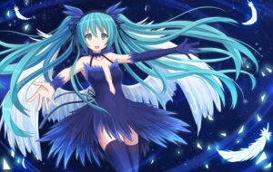 Rating: Safe Score: 45 Tags: cleavage dress hatsune_miku kazenokaze no_bra thighhighs vocaloid wings User: sylver650