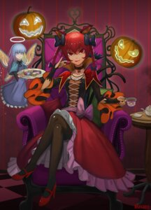 Rating: Safe Score: 27 Tags: animal_ears dress halloween heels kaenbyou_rin pantyhose recare tail touhou wings zombie_fairy User: Mr_GT