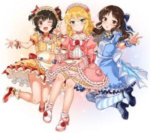 Rating: Safe Score: 9 Tags: akagi_miria dress garter heels lolita_fashion sakurai_momoka sirurabbit skirt_lift tachibana_arisu the_idolm@ster the_idolm@ster_cinderella_girls thighhighs User: Arsy