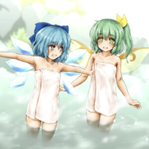 Rating: Questionable Score: 18 Tags: cirno daiyousei esan_(llamaesan) onsen touhou towel wet wings User: yanis