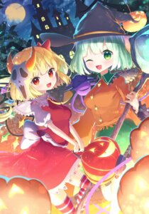 Rating: Safe Score: 14 Tags: flandre_scarlet halloween kiramarukou komeiji_koishi skirt_lift thighhighs touhou weapon User: BattlequeenYume