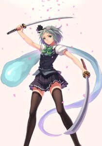 Rating: Safe Score: 37 Tags: konpaku_youmu sword thighhighs touhou zengxianxin User: Radioactive