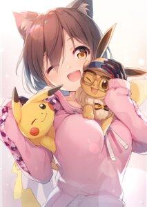 Rating: Safe Score: 26 Tags: animal_ears eevee megane nekomimi nijihashi_sora pikachu pokemon User: kiyoe