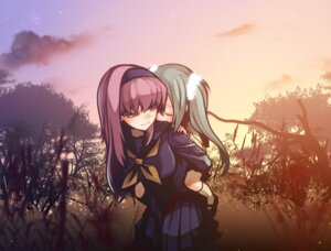 Rating: Safe Score: 19 Tags: hatsune_miku megurine_luka seifuku tahya vocaloid User: Radioactive