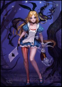 Rating: Safe Score: 38 Tags: akcho alice alice_in_wonderland cheshire_cat cleavage dress thighhighs weapon white_rabbit User: Mr_GT