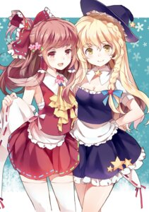 Rating: Safe Score: 48 Tags: cleavage hakurei_reimu kirisame_marisa sheska_xue thighhighs touhou User: fairyren