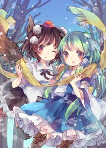 Rating: Safe Score: 27 Tags: hiyoko_no_tataki kochiya_sanae shameimaru_aya touhou wings User: Mr_GT