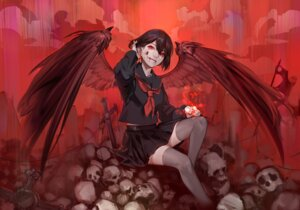 Rating: Safe Score: 8 Tags: blood chiizu_namasu seifuku skirt_lift thighhighs wings User: Mr_GT