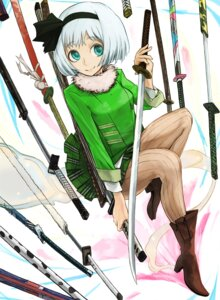 Rating: Safe Score: 10 Tags: code-aa heels konpaku_youmu pantyhose sword touhou User: Mr_GT