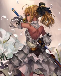 Rating: Safe Score: 81 Tags: armor dress fate/stay_night momoko_(momopoco) saber saber_lily sword User: fairyren