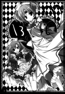 Rating: Questionable Score: 4 Tags: 13 amene inugami_kira maid mitsuki_(13) monochrome necotoxin nopan stockings thighhighs User: WtfCakes