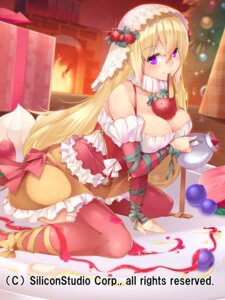 Rating: Safe Score: 42 Tags: breast_hold christmas cleavage dress gyakushuu_no_fantasica kokka_han official_watermark thighhighs User: Mr_GT