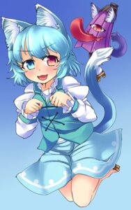 Rating: Safe Score: 9 Tags: animal_ears heterochromia konata_gazel nekomimi tail tatara_kogasa touhou User: Mr_GT