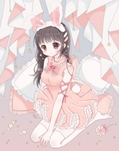 Rating: Safe Score: 25 Tags: animal_ears bunny_ears dress roromi tail thighhighs User: animeprincess