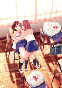 Rating: Questionable Score: 32 Tags: bra detexted digital_version lingerie open_shirt seifuku skirt_lift syou yuri User: Arsy