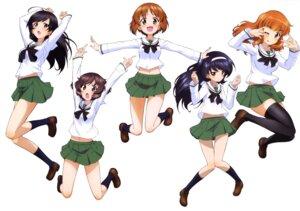 Rating: Questionable Score: 16 Tags: akiyama_yukari girls_und_panzer isuzu_hana nishizumi_miho reizei_mako seifuku skirt_lift takebe_saori thighhighs User: drop