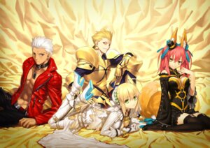 Rating: Questionable Score: 81 Tags: animal_ears archer caster_(fate/extra) cleavage fate/extra fate/extra_ccc fate/stay_night gilgamesh_(fsn) kitsune saber_bride saber_extra tail takeuchi_takashi thighhighs type-moon User: demonbane1349