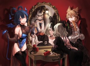 Rating: Questionable Score: 26 Tags: animal_ears ass cleavage dress halloween kaku_seiga leotard miyako_yoshika mononobe_no_futo no_bra nopan shan soga_no_tojiko tail thighhighs touhou toyosatomimi_no_miko wings User: Mr_GT