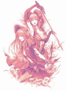 Rating: Safe Score: 13 Tags: castlevania castlevania:_portrait_of_ruin daburoku dress loretta_lecarde monochrome stella_lecarde sword User: charunetra