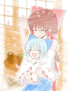 Rating: Safe Score: 6 Tags: cirno hakurei_reimu hiraga_matsuri japanese_clothes miko touhou User: konstargirl