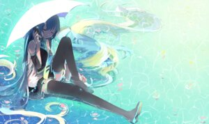 Rating: Safe Score: 39 Tags: hatsune_miku headphones thighhighs umbrella vocaloid wet xiaonuo_(1906803064) User: charunetra