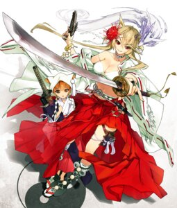 Rating: Safe Score: 37 Tags: animal_ears cleavage gun miko sanbasou sword User: fairyren