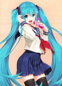 Rating: Safe Score: 51 Tags: hatsune_miku seifuku thighhighs valentine vocaloid wacchi User: Mr_GT