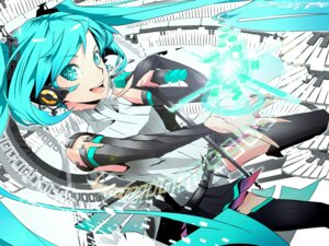 Rating: Safe Score: 17 Tags: firecel hatsune_miku headphones miku_append thighhighs vocaloid User: eridani